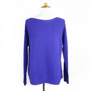 Eileen Fisher blue/purple ribbed knit sweater, S